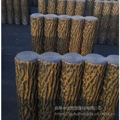 青岛厂家可定制水泥仿木桩护拦,混凝土仿树皮栏杆