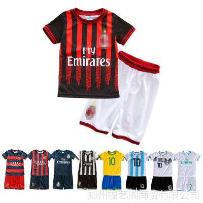 厂家货源2018夏季新款透气吸汗不起球儿童短袖套装足球服一件代发