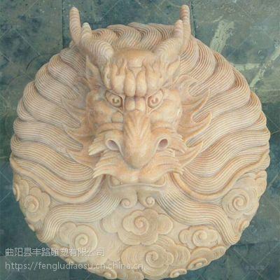 石雕喷水龙头 丰路石雕 汉白玉浮雕龙出水口装饰