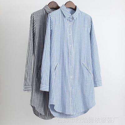 新款2018韩版中长款女衬衫 休闲棉麻蓝白条纹宽松显瘦长袖衬衣女