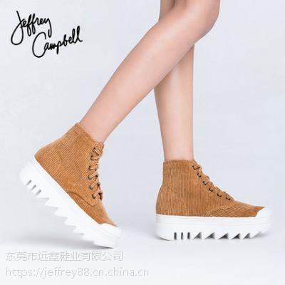 Jeffrey Campbell棕色圆头条纹灯芯绒面系带高帮鞋女2018秋冬新品