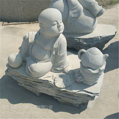 厂家直销石雕小沙弥寺庙趣味佛像雕塑 花岗岩园林寺庙小和尚雕刻