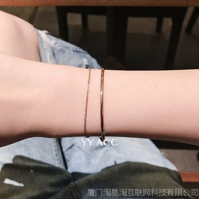 石原里美同款韩版简约个性链条双层18k玫瑰金钛钢极细手镯手链女