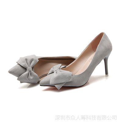 尖头高跟鞋女细跟蝴蝶结高跟鞋新款浅口女单鞋亚马逊爆款女鞋代发