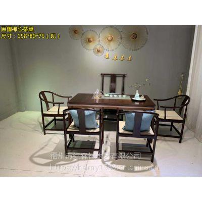 非洲黑檀木茶桌六件套实木家具厂家直销