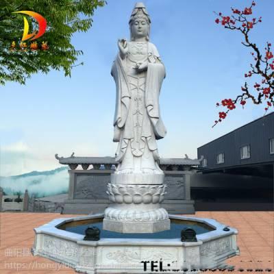 石雕观音镇宅供奉佛像汉白玉大型户外三面滴水观音像寺庙祭祀摆件多红雕塑
