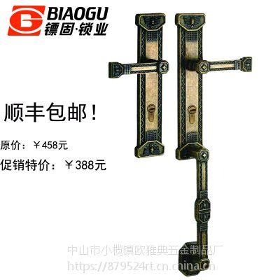 镖固大拉手双开门纯铜大锁复古色锁欧式锁厂家直销型号:T-LM8923AR