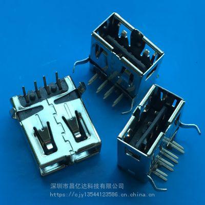 卧式插板 USB 2.0母座 有柱 弯脚 黑色胶芯 二脚插板DIP