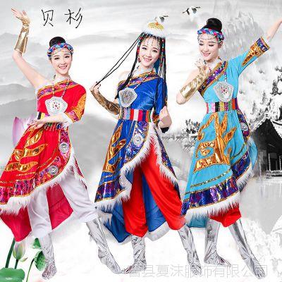 藏族舞蹈演出服2018新款春少数民族服装西藏衣服广场舞套装女成人