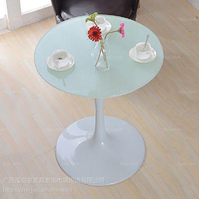 锥弧柱双圆盘桌 贵港洽谈咖啡桌 桂林合金璃家具