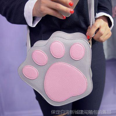 秋新款韩版时尚女包个性卡通熊爪包包潮流撞色单肩包斜挎小包